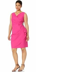 Alex Evenings Plus Size Short Side Ruched Fuchsia